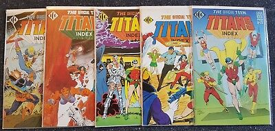 Official Teen Titans Index #1-#5 Complete (1985, Fine, ICG)