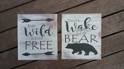 SET (2) Bear WIld Free hand painted wooden sign WOODLAND RUSTIC theme nursery