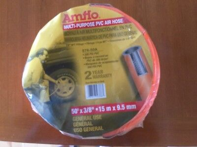 "Amflo 576-50A Orange 300 PSI PVC Air Hose 3/8"" x 50' With 1/4"" MNPT End"