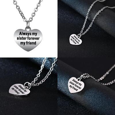 Always My Sister Forever My Friend Heart Pendant Fashion Jewelry Necklace Gift