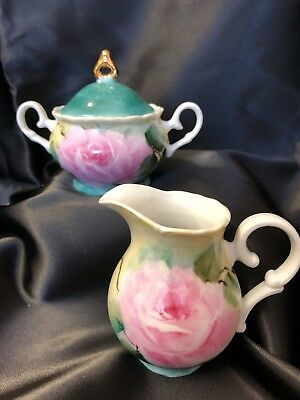 Antique Style Porcelain Sugar And Creamer Hand Painted Pink Roses