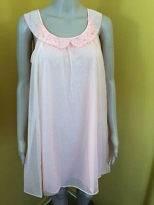 Vintage 60s Van Raalte Peach Sheer Double Layer Nightgown Babydoll Chemise