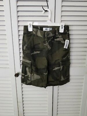 NWT Old Navy Boys 8 Denim Cargo Shorts GREEN CAMO