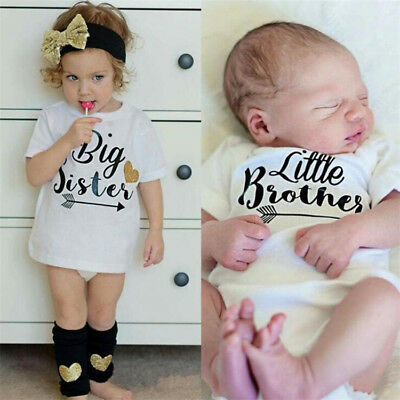Newborn Baby Big Sister White T Shirt Little Brother White Bodysuit