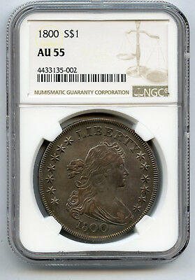 1800 $1 Silver Dollar Draped Bust NGC AU 55 Underlying Lustre, Nicely Toned