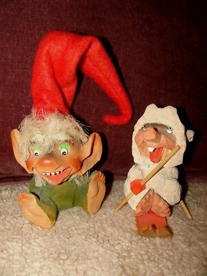 Lot of 2 Vtg NORWAY Henning Hand carved Wood Gnome~Troll~Elf and Sledder! CUTE!