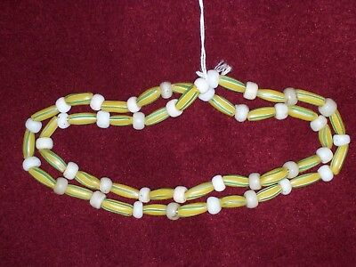 "28"" STRIPED GREEN on YELLOW MELLON BEADS with WHITE TRADE BEADS ~ ARIZONA ~ A600"