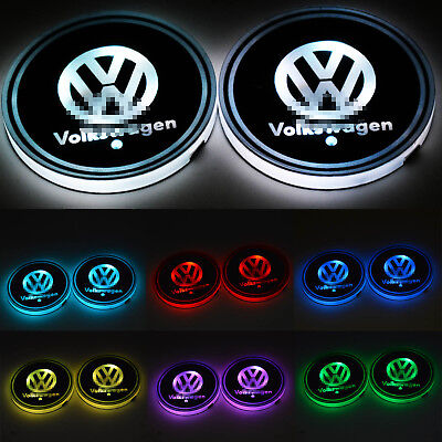 2PCS Colorful LED Car Cup Holder Pad Mat for VW VOLKSWAGEN Auto Atmosphere Light