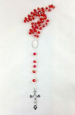 Crystal Glass Rosary Beads Necklace - Red