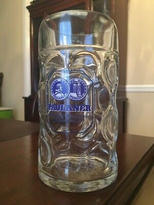 "Rare Paulaner Muncher Beer Dimpled Glass Stein Mug 1 L Large German 8"" Tall"