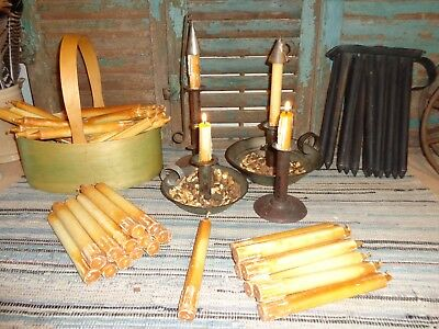 Rare Early Lighting Antique Authentic 1800's Shaker Made Tallow Candle Aafa