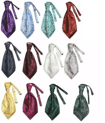 Mens Satin Ruche Paisley Cravat Tie Double Layers Party Event Wedding