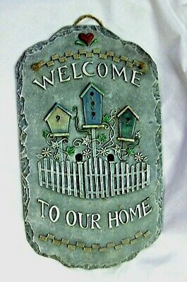 Welcome To Our Home 3 D Design Slate Sign Decor Plaque Ready Hang