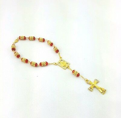 Crystal Glass Rosary Beads with Crucifix for Car - Red
