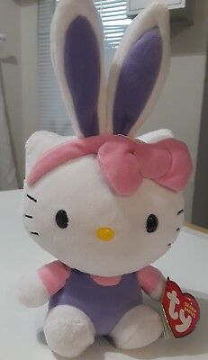 "Ty Beanie Babies Hello Kitty Pink with lilac Bunny Ear 6"" Plush. Easter bunny."