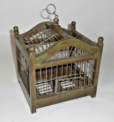 VINTAGE Small Wood and Wire GABLE Top Bird Cage Hanging Hook Hinged Drop Bottom
