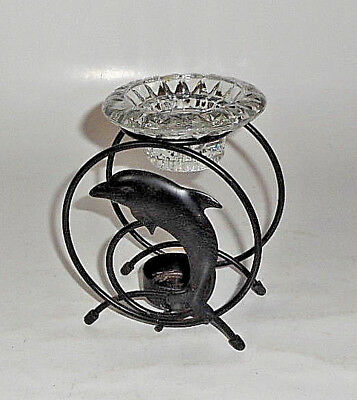 """VINTAGE Metal LEAPING Dolphin HOOP Tealight Candle Holder 6"""" TALL METAL"""