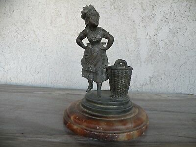 Antique Victorian French Bronze Match Holder~safe~figural~metal with marble base