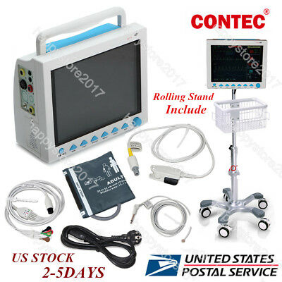"Portable 12.1""LCD 6 Parameters ICU Patient Monitor CMS8000+Rolling Stand 2-5days"