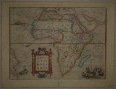 1570 Genuine Antique hand colored map of Africa. Ortelius