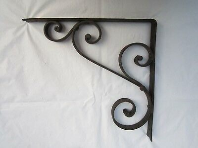 2 ~ANTIQUE Vintage METAL WROUGHT IRON SCROLLED BRACKETS RIVETED NO WELD