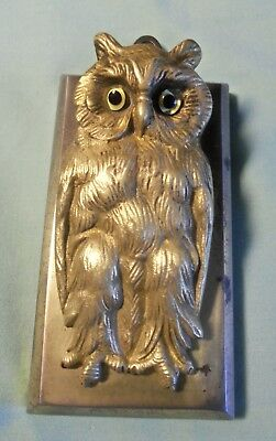 ANTIQUE BRADLEY HUBBARD Bronze/Cast Iron GLASS OWL paper clip desk letter holder