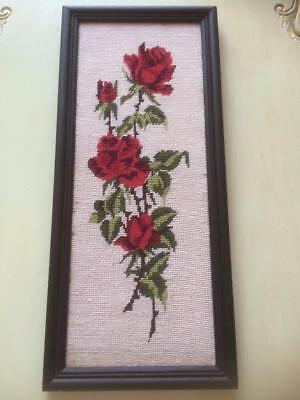 Vintage Retro Black Frame Red Roses Wool Tapestry Needlepoint Wall Display