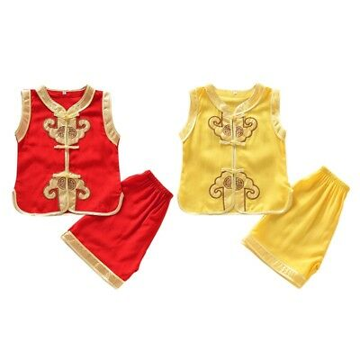 Baby Kids Boy Chinese Tang Suit T-shirt + Shorts Pant Outfits Casual Clothes Set