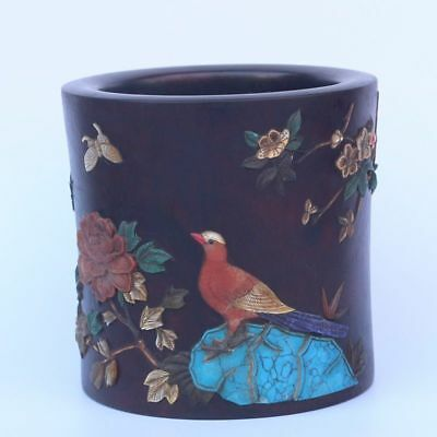 Chinese Exquisite Hand-carved flower bird carving wooden mosaic shell Brush Pot