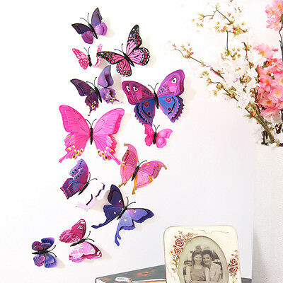 12pcs Double Wings Butterfly Wall Stickers Set Simulation 3D Wall Decorative