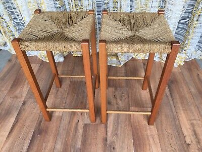 2 Vintage Retro Seagrass  Bar Stools - Buy Now.