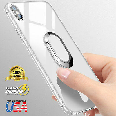 Soft TPU Case Cover 360 Magnetic Ring Holder Kickstand Fits iPhone X 8 7 Plus