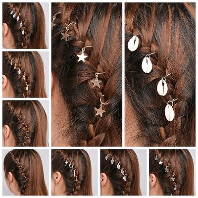 5Pcs Pigtail Hairpin Dreadlock Hair Beads Hair Braid Pins Rings Hair Accessories