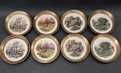 Sheridan Silverplate Currier & Ives Scenic Coasters Four Seasons 2 Sets Vintage