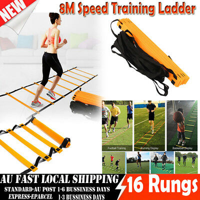 16 Rungs 8M Speed Agility Training Ladder Footwork Football Soccer Fitness + Bag