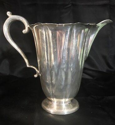 "Meridens S P Co. Large Silverplate (Early American) Pitcher #982 - 8 1/2"" Tall"