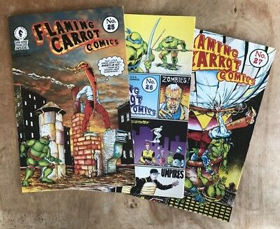 3 Flaming Carrot Comics #25, 26, 27 Signed Bob Burden 1991Ninja Turtle  Fn+/vf+