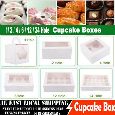 Cupcake Box Cases 1 2 4 6 12 24 Hole Window Face Party Wedding Christamas Gift
