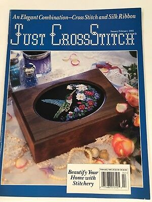 Just Cross Stitch Mag 1995  An Elegant combination Cross Stitch and Silk Ribbon