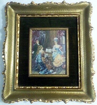 Antique 19th Century Signed FRENCH MINIATURE PAINTING ON IVORY w/ SINGING LADY