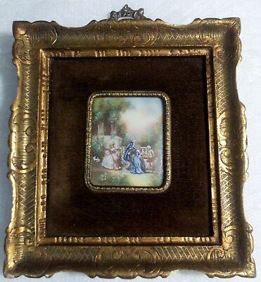 Antique 19th Century Signed FRENCH MINIATURE PAINTING ON IVORY w/COLONIAL PEOPLE