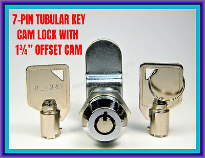 "TUBULAR, 7-PIN OFFSET CAM LOCK with TWO ROUND KEYS (LARGE 3/4"" MOUNTING HOLE)"