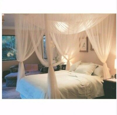 White ThreeDoor Princess MosquitoNet Double Bed Curtains Canopy Queen King Size