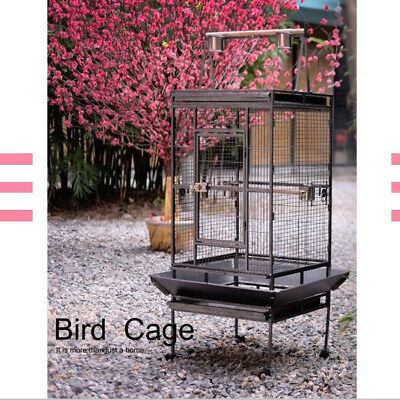 Large Metal Pet Bird Parrot Canary Cage With Play Roof Top Ladder Wheels