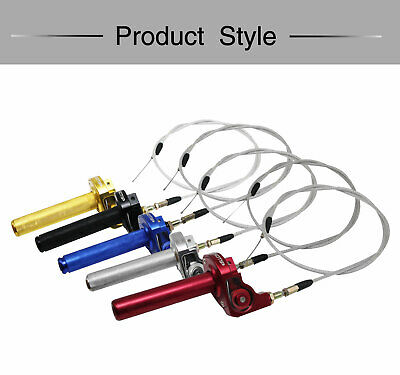 "Motorcycle 7/8"" CNC Billet Twister Throttle Tube Clamp Assembly + Cable For Dirt"