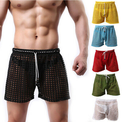 Sexy Men Fishnet Lounge Pants Casual Shorts Pajamas Night Clothes Trousers