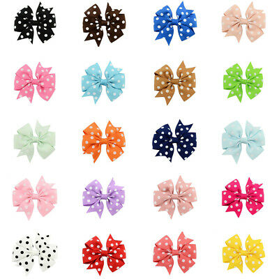 1 Piece Boutique Kids Girls Dotted Grosgrain Ribbon Bow Hair Pin Alligator