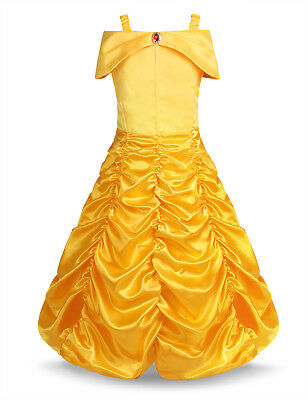 Kid Little Girl Princess Belle Fancy Cosplay Dress Up Party Cute Costume Outfit