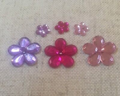 FLOWER RHINESTONES, PINK AND PURPLE, 63 pack, CleverPatch
