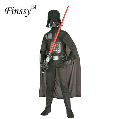 Star Wars Darth Vader Costume Kids Jumpsuit Black Suit Cape Mask Boys Cosplay